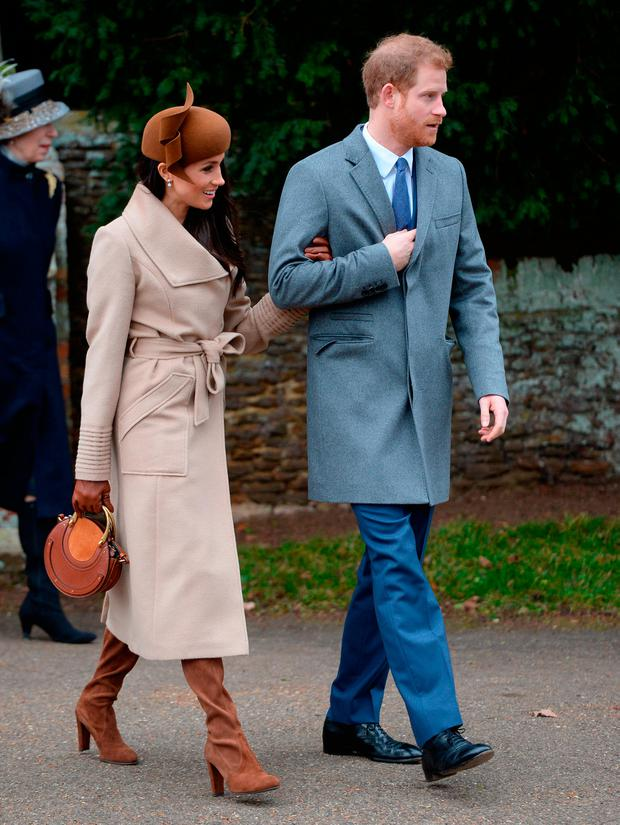 Meghan Markle and Prince Harry leaves the Christmas Day morning church service at St Mary Magdalene Church in Sandringham, Norfolk