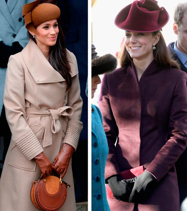 Meghan Markle, left, and Kate Middleton, right