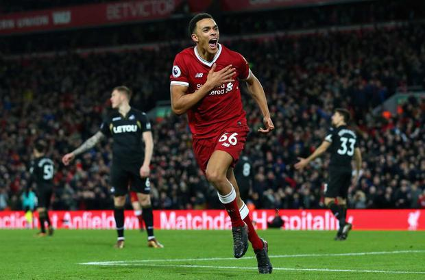 Trent Alexander-Arnold celebrates against Swansea