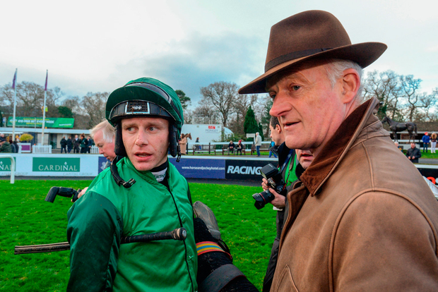 Paul Townend with trainer Willie Mullins after winning the Racing Post Novice Steeplechase with Footpad. Photo by Matt Browne/Sportsfile