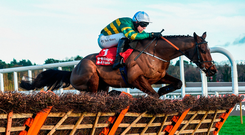 Espoir D'Allen and Mark Walsh sail over the last to win at Leopardstown. Photo by Matt Browne/Sportsfile