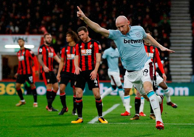 James Collins celebrates after giving West Ham an early lead. Photo: REUTERS/Peter Nicholls