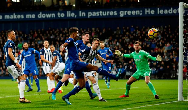 Everton's Dominic Calvert-Lewin misses a chance at the back post. Photo: REUTERS