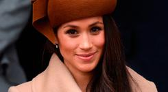 Meghan Markle wears a Philip Treacy-designed hat at the Christmas Day morning church service at Sandringham. Picture: PA