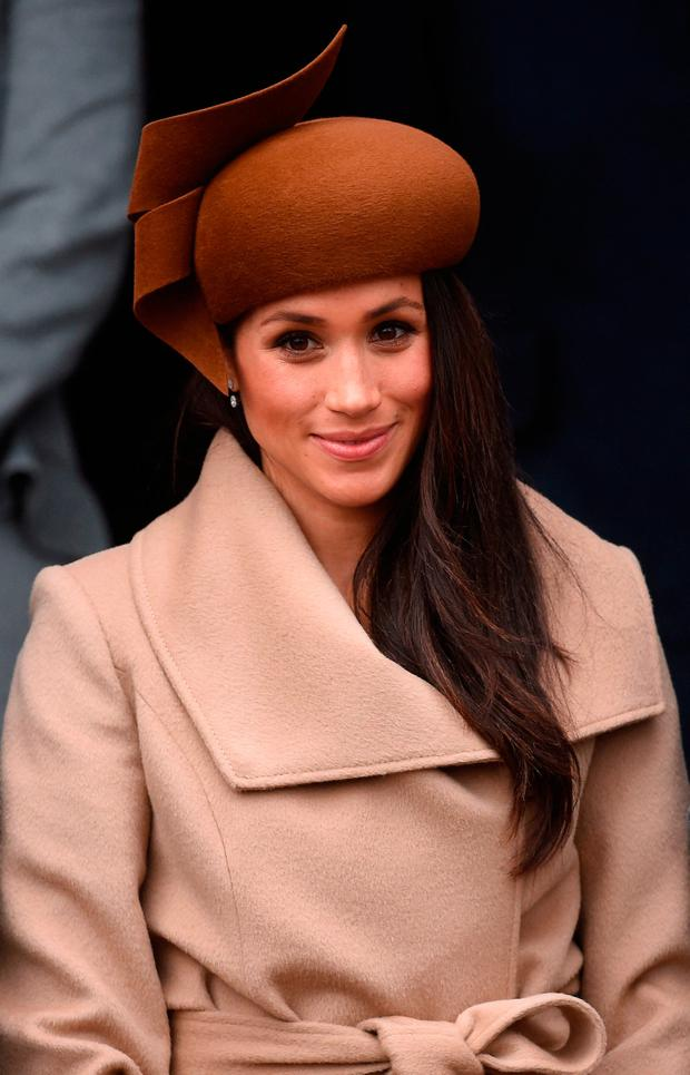 cc45f4eae3e Meghan Markle wears a Philip Treacy-designed hat at the Christmas Day  morning church service