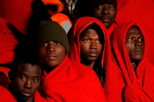 A group of migrants intercepted in the Mediterranean on Christmas Day. Photo: Reuters