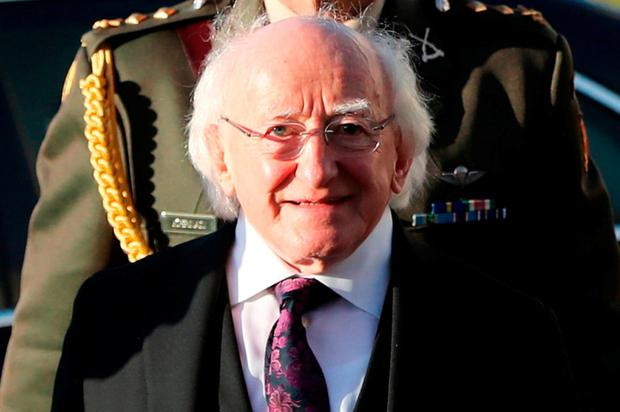 President Michael D Higgins attends the funeral of Dr Maurice Hayes at St Patrick's Church, Downpatrick, Co Down. Photo: PA