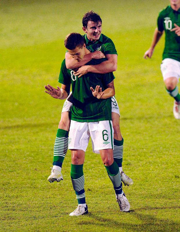 Conor Henderson celebrates after scoring against Italy in 2012