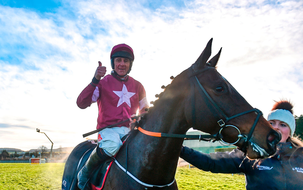 Apple's Jade, with Davy Russell up, after winning the Squared Financial Christmas Hurdle