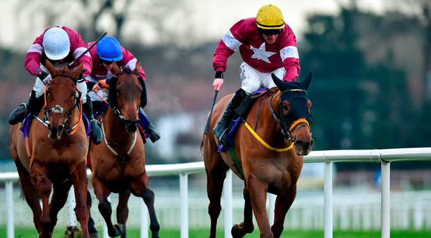 Road To Respect, with Sean Flanagan up (right), on their way to winning the Leopardstown Christmas Chase. Photo: David Fitzgerald/Sportsfile