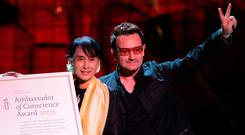 Aung San Suu Kyi with Bono