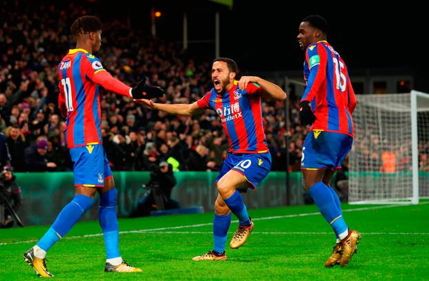 Andros Townsend of Crystal Palace (C) celebrates as he scores their first and equalising goal Photo: Getty