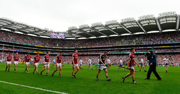 Galway captain David Burke leads his side in the parade before the GAA Hurling All-Ireland Senior Championship Final match between Galway and Waterford at Croke Park in Dublin. Photo by Piaras Ó Mídheach/Sportsfile