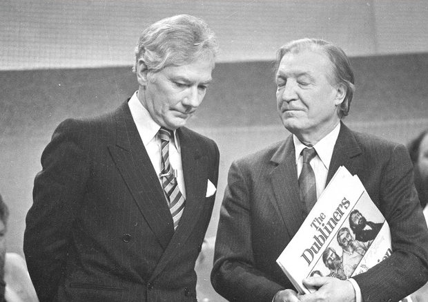 Gay Byrne and Charles J Haughey in 1987 during the Late Late Show tribute to The Dubliners on their 25th anniversary - all the action is revisited tonight, 30 years on.