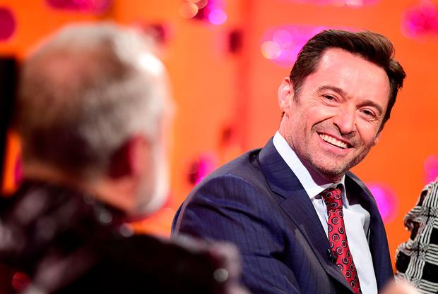 Host Graham Norton and Hugh Jackman appearing on the Graham Norton Show filmed at the London Studios, London to be aired on New Year's Eve. Photo: PA Images on behalf of So TV.