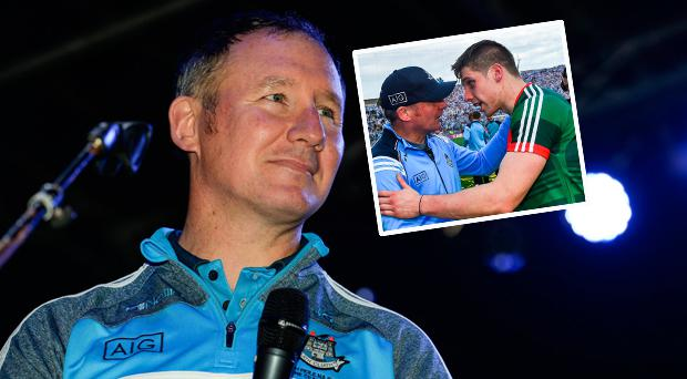 Jim Gavin addresses Dublin fans and (inset) with Mayo's Lee Keegan after the 2017 All Ireland final