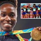Tianna Bartoletta poses on the podium during the medal ceremony for the Women's Long Jump at Rio 2016 Olympic Games and (inset) she celebrates winning gold in the Women's 4 x 100m Relay with English Gardner, Allyson Felix, and Tori Bowie