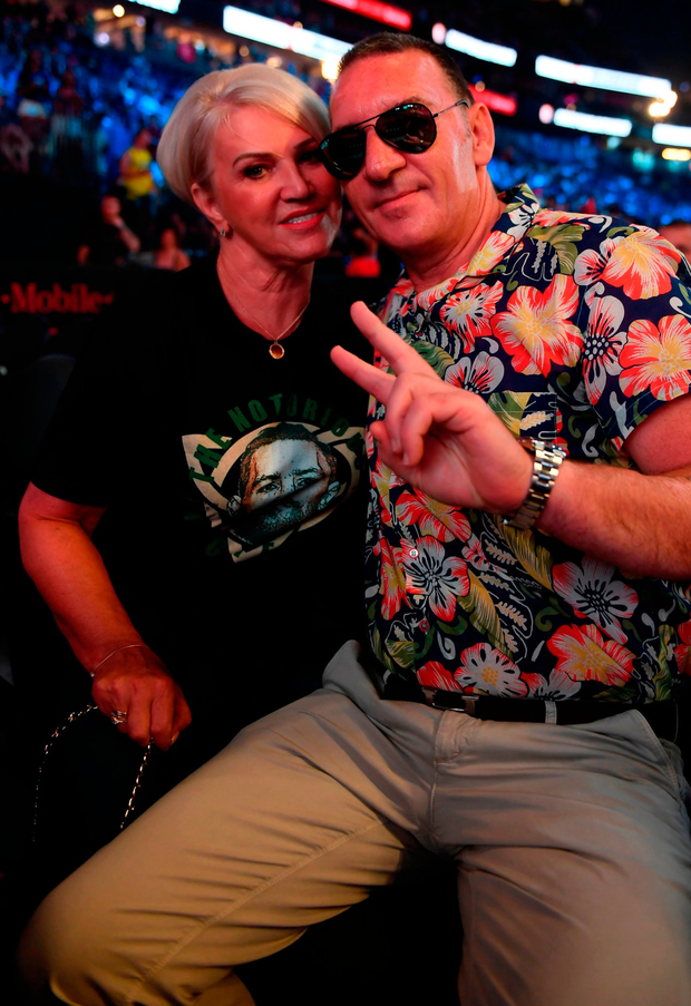 Conor McGregor's parents Tony and Margaret McGregor at the Las Vegas weigh-in. Photo: Stephen McCarthy/Sportsfile