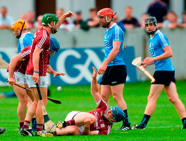 Paul Killeen in agony after suffering a cruciate ligament injury during Galway's first Championship outing against Dublin. Photo: Piaras Ó Mídheach/Sportsfile