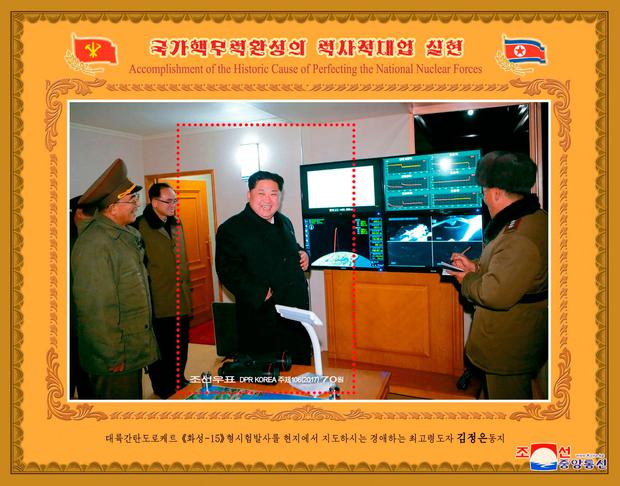 One of the series of stamps issued by the State Stamp Bureau to commemorate the test-launch of the new type of intercontinental ballistic rocket Hwasong-15 is seen in this photo released by North Korea's Korean Central News Agency