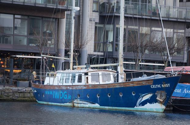Charles Haughey's old yacht, the Celtic Mist, at Dublin's Grand Canal Basin yesterday. Photo: Fergal Phillips
