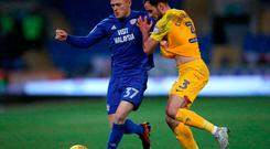 Cardiff City's Rhys Healey (left) and Preston North End's Greg Cunningham