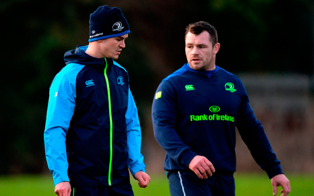 Jonathan Sexton, left, and Cian Healy
