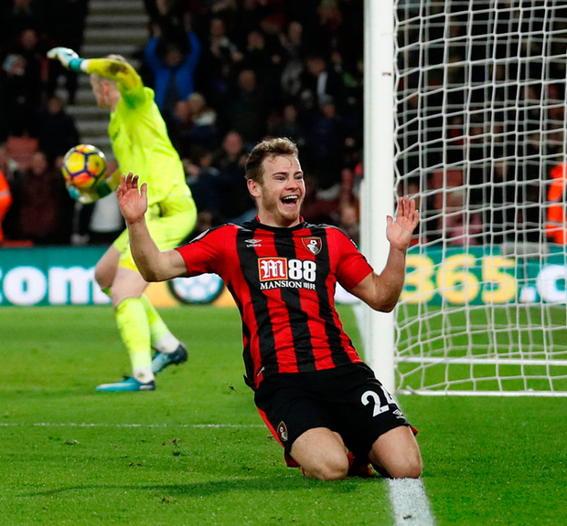 Ryan Fraser celebrates scoring for Bournemouth yesterday. Photo: Reuters