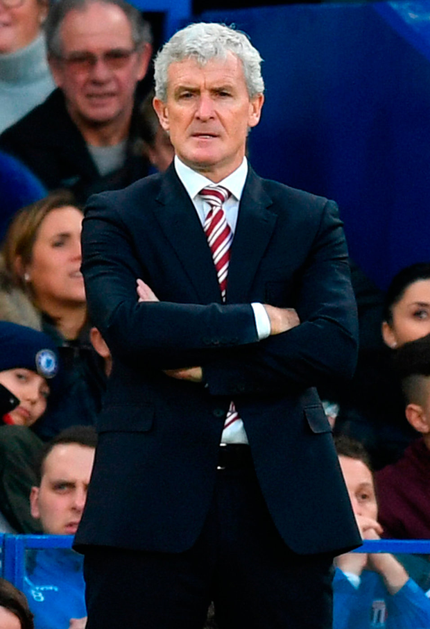 Stoke manager Mark Hughes: 'I made decisions I feel will help us with the game we have on Monday'. Photo: Getty Images