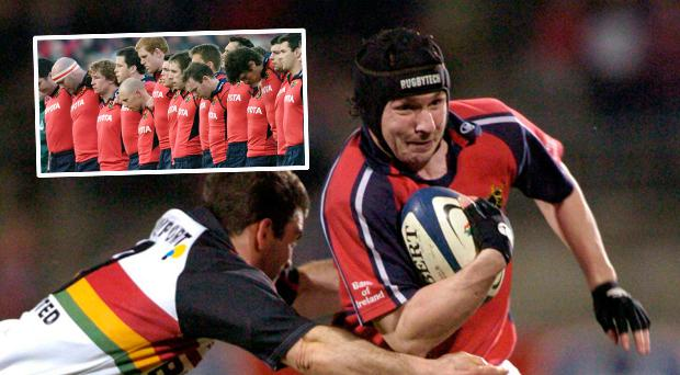 Conrad O'Sullivan in action for Munster in 2004 and (inset) Munster players observe a minute's silence following his passing