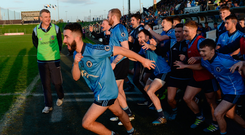 29 October 2017; Simonstown Gaels manager Colm O'Rourke looks on as his players race onto the pitch after the Meath County Senior Football Championship Final match between Simonstown Gaels and Summerhill at Páirc Tailteann, Navan in Co Meath. Photo by Piaras Ó Mídheach/Sportsfile