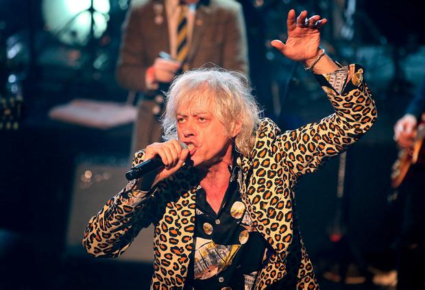 Bob Geldof pictured on stage during the Rock Against Homelessness in the Olympia Theatre. Photo: Frank McGrath