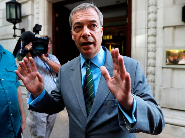 Former UKIP leader Mr Farage, will be in Dublin next month to speak at the event entitled Irexit: Freedom to Prosper. Photo: REUTERS/Peter Nicholls