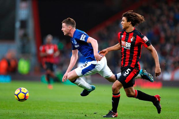 Everton's James McCarthy battles with Bournemouth's Nathan Ake