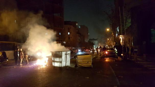 People protest in Tehran, Iran December 30, 2017 in this picture obtained from social media.