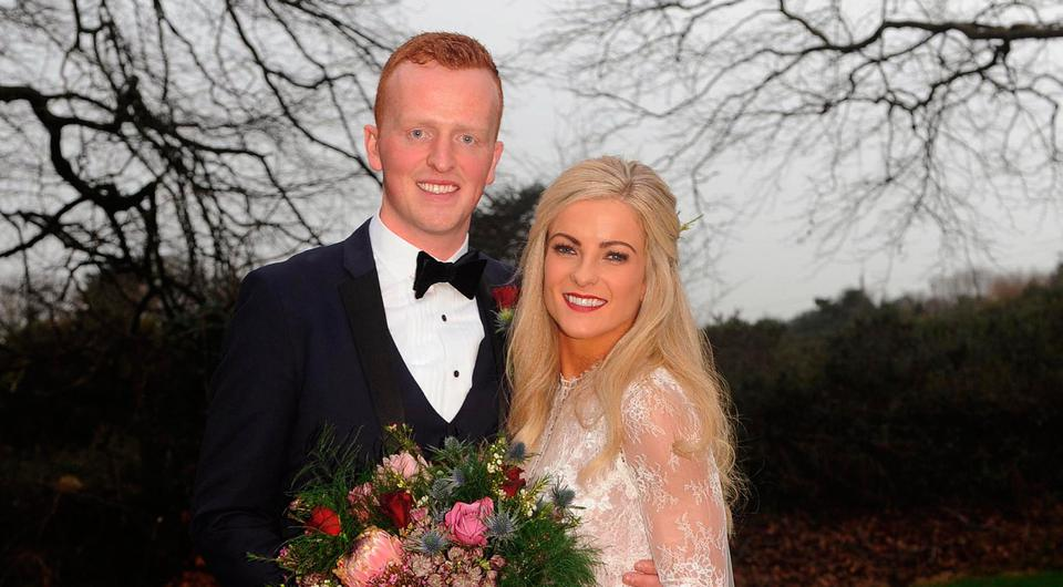 30-12-2017: Kerry footballer and Dr Crokes All Ireland club winning captain Johnny Buckley (son of Mike and Eileen Buckley, Killarney) and Annie MacMonagle (daughter of Don and Mary Susan MacMonagle, Killarney) who were married in St. Johns Church, Cratloe, Co. Clare on Saturday. Picture: Eamonn Keogh (macmonagle.com)