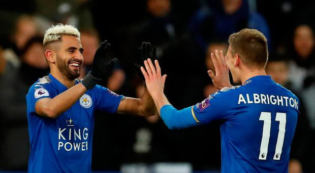Soccer Football - Premier League - Leicester City vs Huddersfield Town - King Power Stadium, Leicester, Britain - January 1, 2018 Leicester City's Riyad Mahrez celebrates scoring their first goal with Marc Albrighton Action Images via Reuters/Andrew Boyers
