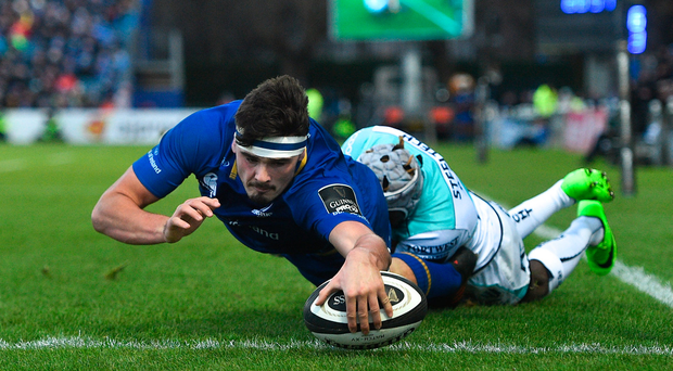 1 January 2018; Max Deegan of Leinster scores his side's first try despite the tackle of Niyi Adeolokun of Connacht during the Guinness PRO14 Round 12 match between Leinster and Connacht at the RDS Arena in Dublin. Photo by Ramsey Cardy/Sportsfile