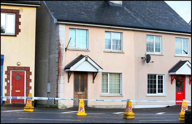 The scene of the fatal stabbing on the Dublin Road in Ballyjamesduff Co Cavan. Pic Steve Humphreys