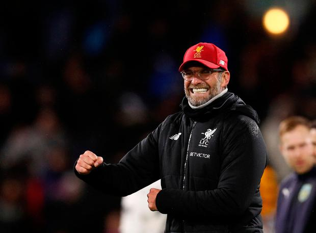 Soccer Football - Premier League - Burnley vs Liverpool - Turf Moor, Burnley, Britain - January 1, 2018 Liverpool manager Juergen Klopp celebrates after the match REUTERS/Phil Noble