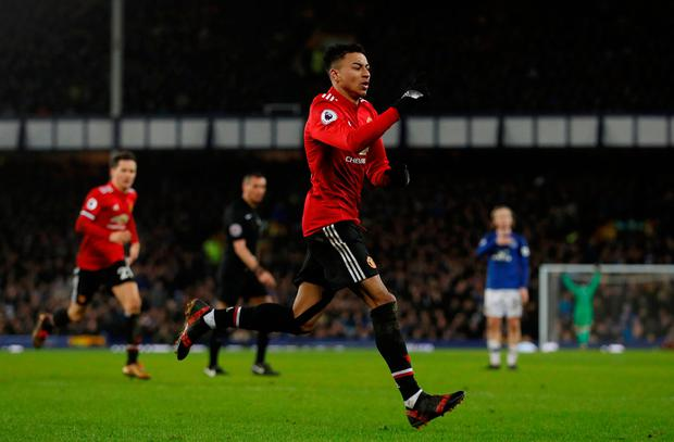 Soccer Football - Premier League - Everton vs Manchester United - Goodison Park, Liverpool, Britain - January 1, 2018 Manchester United's Jesse Lingard celebrates scoring their second goal Action Images via Reuters/Lee Smith