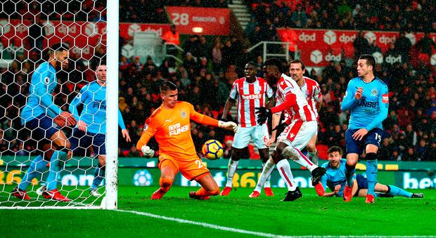 Stoke City's Mame Biram Diouf (second right) has a chance on goal. Photo credit: Dave Thompson/PA Wire.