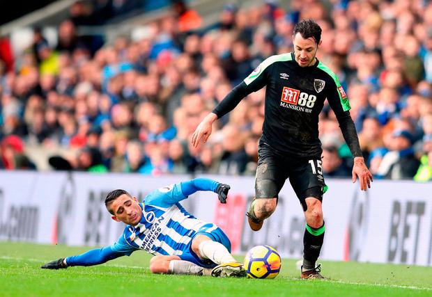 AFC Bournemouth's Adam Smith (right) and Brighton & Hove Albion's Anthony Knockaert in action. Photo credit: Adam Davy/PA Wire