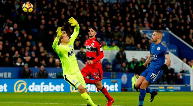 Leicester City's Islam Slimani scores their second goal. Photo: Reuters/Andrew Boyers