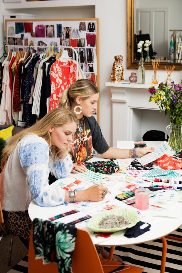Rixo London co-founders Orlagh McCloskey and Henrietta Rix creating new prints