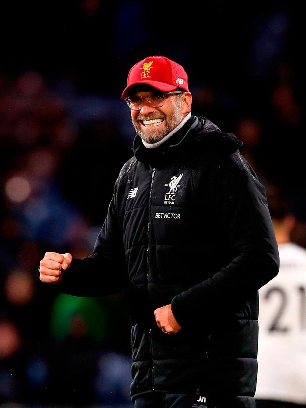 Liverpool manager Jurgen Klopp celebrates after the final whistle. Photo credit: Martin Rickett/PA Wire