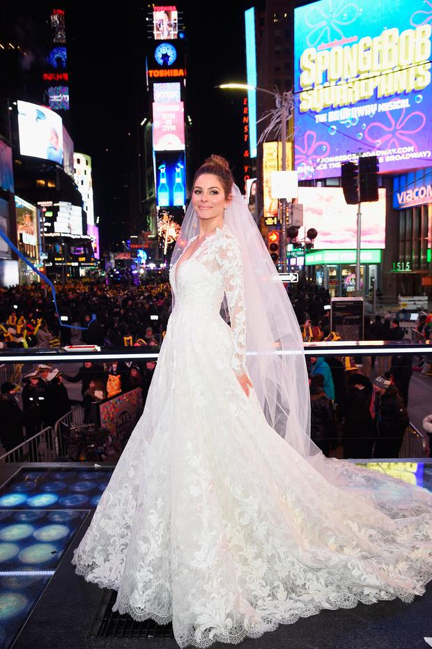 NEW YORK, NY - DECEMBER 31: Maria Menounos holds her wedding ceremony during Maria Menounos and Steve Harvey Live from Times Square at Marriott Marquis Times Square on December 31, 2017 in New York City. (Photo by Dimitrios Kambouris/Getty Images for MM)