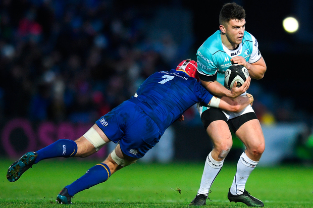 1 January 2018; Tom Farrell of Connacht is tackled by Josh van der Flier of Leinster during the Guinness PRO14 Round 12 match between Leinster and Connacht at the RDS Arena in Dublin. Photo by Eóin Noonan/Sportsfile