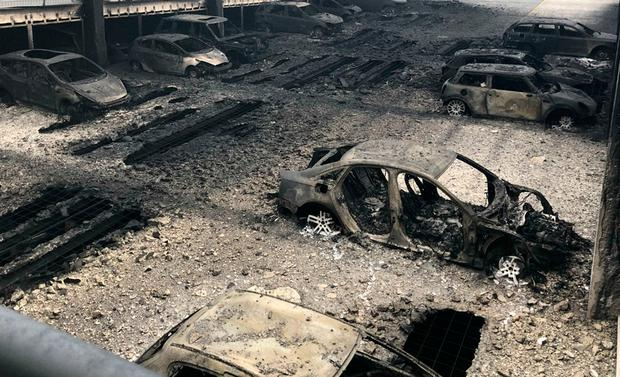 The huge fire destroyed around 1,400 vehicles in the car park after the blaze broke out in an old Land Rover. Photo: Merseyside Fire and Rescue Service/PA