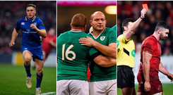 Jordan Larmour (left), Rory Best and Sean Cronin (centre), and Sam Arnold after his red card against Ulster (right).